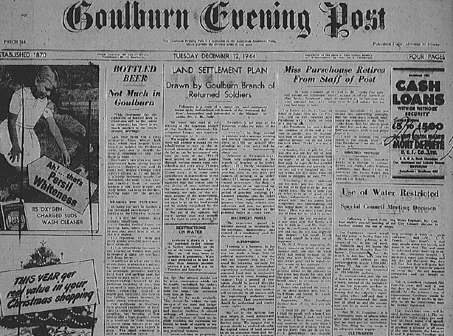 The front page of the Goulburn Evening Post on December 12, 1944. Photo: Goulburn Mulwaree Library