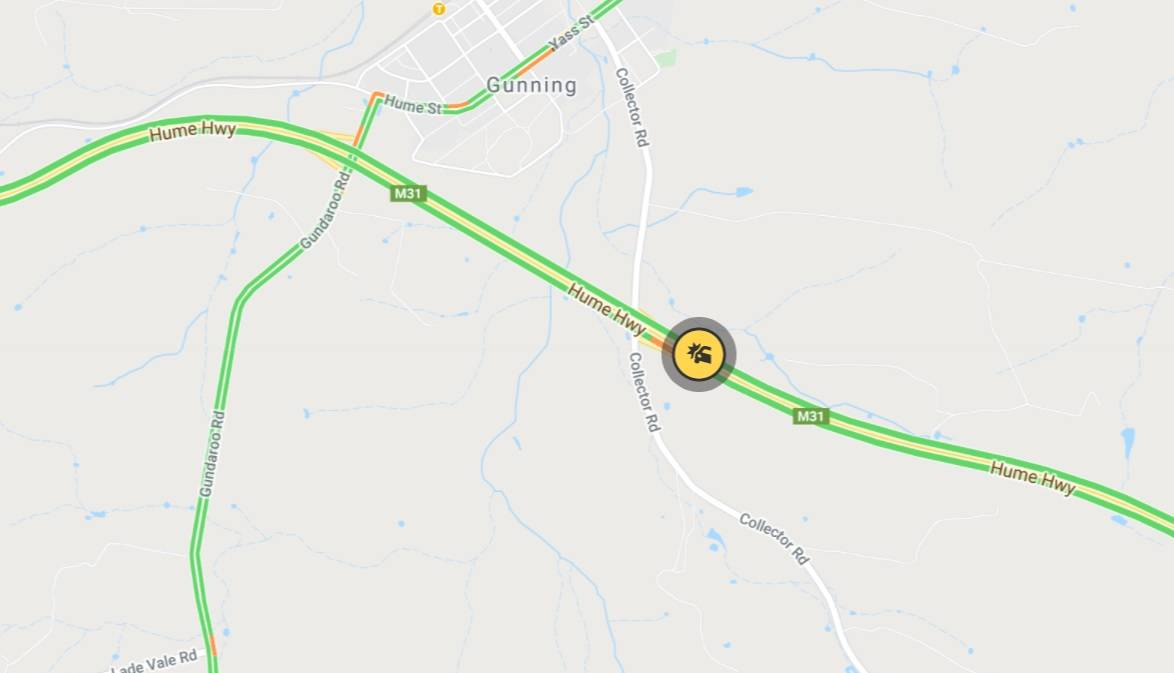 The crash occurred on the Hume Highway near Gunning, close to the Collector Road off-ramp. Image: Live Traffic NSW.