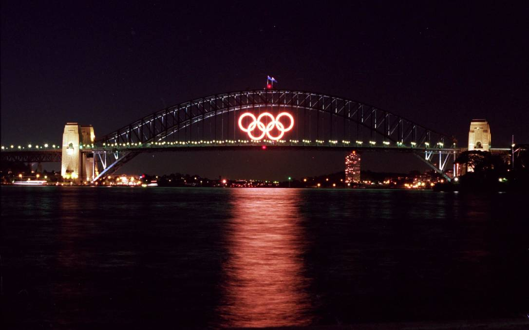 CHANGING TIMES: The Olympic rings that featured on Sydney Harbour in 2000 were manufactured in Goulburn by Kermac Engineering. They are now for sale on ebay. Photo supplied.