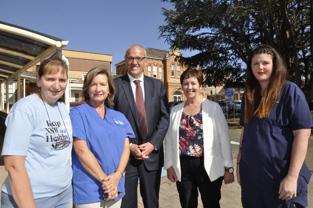 OFF AND RUNNING: Union members Patricia Clifford, Anna Wurth-Crawford and Kate O'Neill with Labor leader Luke Foley and candidate for Goulburn, Ursula Stephens at Thursday's campaign launch.