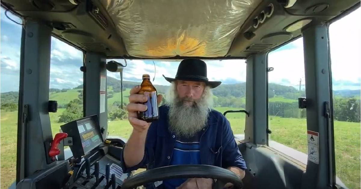 ON THE LAND, GINGER BEER IN HAND: Comboyne farmer Rodney Fisher.